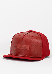 Snapback-Cap Quilted Leather red