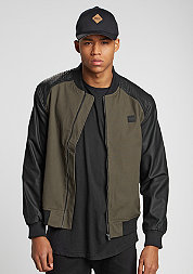 Cotton Bomber Leather Imitation Sleeve olive/black