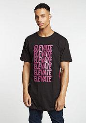T-Shirt  Elevate Long black/maroon mc