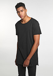 T-Shirt Long Back Shaped Slub black
