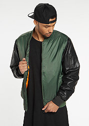 Basic Bomber Leather Imitation olive/black