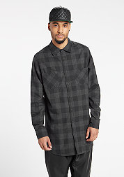 Hemd Long Checked Flanell black/charcoal