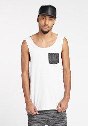 Tanktop Leather Imitation Pocket Loose white/black