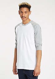 Contrast 3/4 Sleeve Raglan white/grey