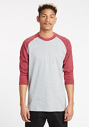 Contrast 3/4 Sleeve Raglan grey/ruby