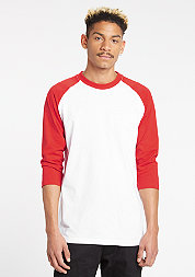 Contrast 3/4 Sleeve Raglan white/red