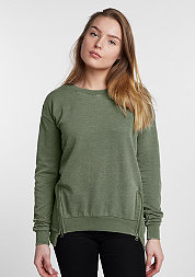 Sweatshirt Burnout Front Zip light olive