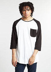 Longsleeve Long Raglan 3/4 Sleeve Pocket white/black