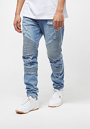 C&S Biker Denim Pants distressed light blue