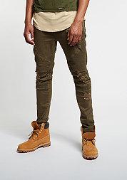 Jeans-Hose Biker Denim Pants distressed olive