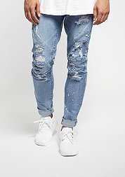 C&S Paneled Denim Pants distressed light blue/white