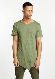 T-Shirt Long Open Front Zip light olive