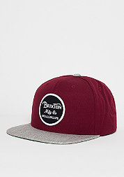 Snapback-Cap Wheeler burgundy/light heather grey