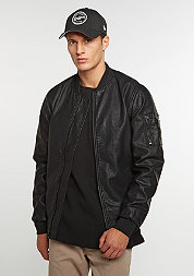 Artificial Leather Bomber washed black