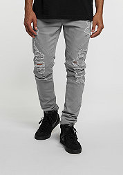 C&S Paneled Distressed Denim Pants cool grey