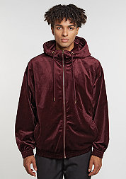 Hooded-Zipper Velvet Zip bordeaux
