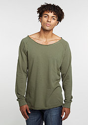 Sweatshirt Long Open Edge Terry olive