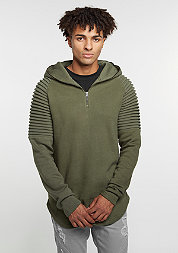 Hooded-Sweatshirt Pleat Sleeves Terry olive