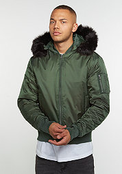 Hooded Basic Bomber olive