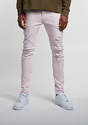 Jeans Paneled Distressed Denim Pants light pink