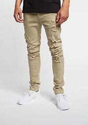 Jeans Paneled Denim Pants distressed beige