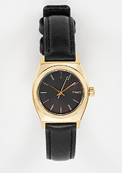 Uhr Small Time Teller Leather black/gold