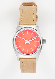 Uhr Small Time Teller Leather bright coral/natural