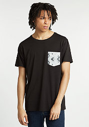T-Shirt Contrast Pocket black/dark marble