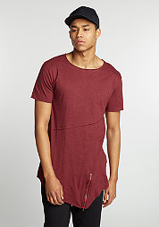 T-Shirt Long Open Front Zip burgundy