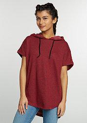 Hooded-Sweatshirt Melange Sleeveless Terry burgundy