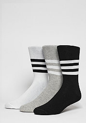 Fashion-Socke Thin Crew Stripes 2PP white/black/medium grey heather