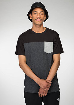 T-Shirt 3-Tone Pocket charcoal/black/grey