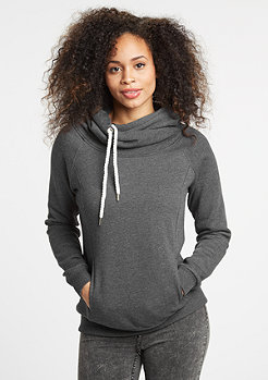 Hooded-Sweatshirt Raglan High Neck charcoal