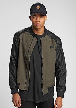 Cotton Bomber Leather Imitation Sleeve olive/black
