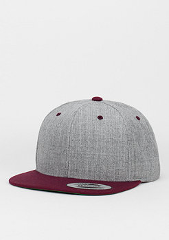Snapback-Cap Classic 2-Tone heather grey/maroon