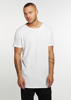T-Shirt Long Back Shaped Slub white