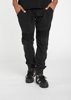 Fitted Acid Washed Biker Sweatpants black