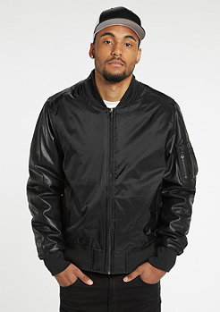 Jacke Basic Bomber Leather Imitation black/black
