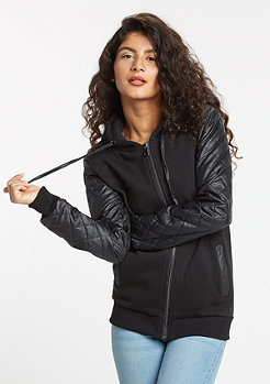 Hooded-Zipper Diamond Leather Imitation Sleeve black/black