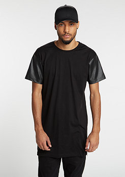 T-Shirt Long Zipped Leather Imitation black/black