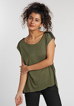 T-Shirt Shoulder Zip HiLo olive
