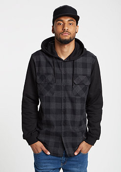 Hemd Hooded Checked Flanell black/charcoal