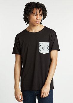 T-Shirt Contrast Pocket black/dark marble
