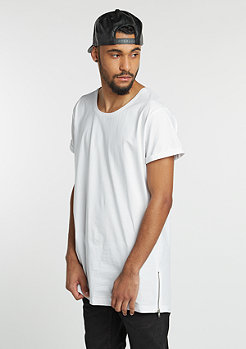 T-Shirt Long Shaped Side Zip white