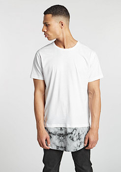 T-Shirt Long Shaped Marble white