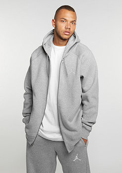 Hooded-Zipper Flight Fleece Full-Zip dark grey heather/white