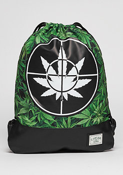 Turnbeutel GL Gymbag Defend Your Crops green leaves/black