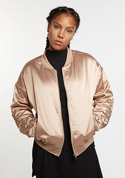 Jacke Satin Blouson Lacing cafe