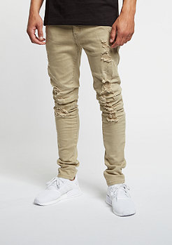 Jeans Paneled Denim Pants distressed beige