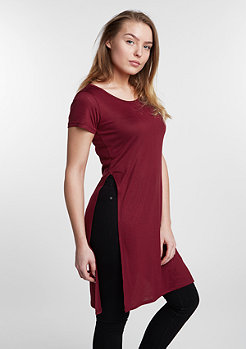 T-Shirt Slide Slit Viscose long burgundy